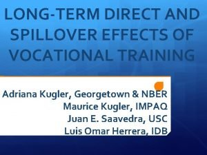 LONGTERM DIRECT AND SPILLOVER EFFECTS OF VOCATIONAL TRAINING