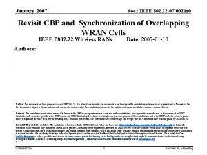 January 2007 doc IEEE 802 22 070021 r