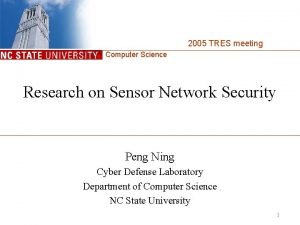 2005 TRES meeting Computer Science Research on Sensor