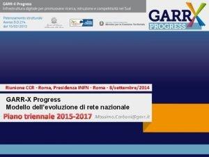 Riunione CCR Roma Presidenza INFN Roma 8settembre2014 GARRX