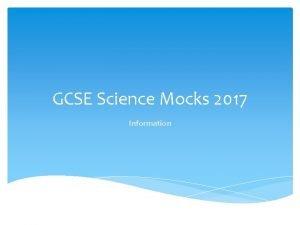 GCSE Science Mocks 2017 Information Combined Science Three