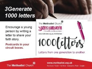 3 Generate 1000 letters Encourage a young person