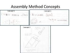 Assembly Method Concepts Concept 2 Concept 1 Concept