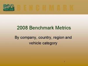 BENCHMARK 2008 Benchmark Metrics By company country region
