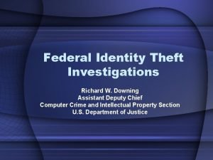 Federal Identity Theft Investigations Richard W Downing Assistant