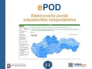 e POD Elektronick portl odpadovho hospodrstva e POD