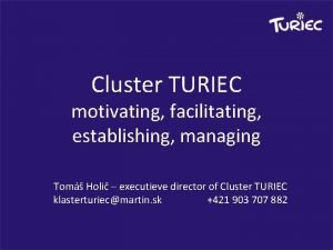 Cluster TURIEC motivating facilitating establishing managing Tom Holi