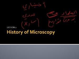 LESSON 2 History of Microscopy History of Microscopy