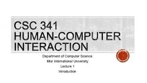 Department of Computer Science Misr International University Lecture