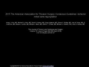 2015 The American Association for Thoracic Surgery Consensus