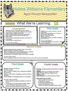Hobbs Williams Elementary April Parent Newsletter What Were