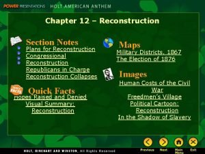 Chapter 12 Reconstruction Section Notes Plans for Reconstruction