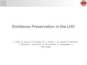 LHC Emittance Preservation in the LHC V Kain
