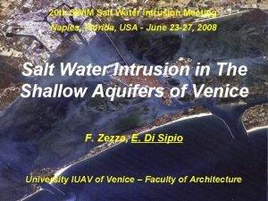 20 th SWIM Salt Water Intrusion Meeting Naples