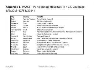 Appendix 1 IMACS Participating Hospitals n 17 Coverage