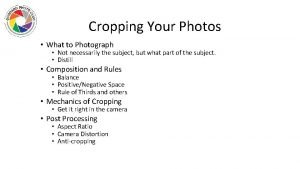 Cropping Your Photos What to Photograph Not necessarily