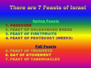 1 2 3 4 Spring Feasts PASSOVER FEAST