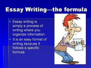 Essay Writingthe formula Essay writing is simply a