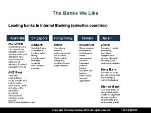 The Banks We Like Leading banks in Internet