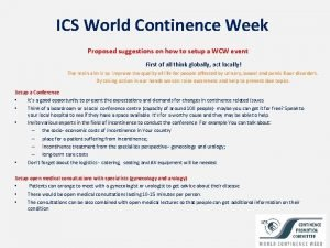ICS World Continence Week Proposed suggestions on how