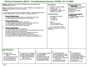 FRAGO to Sharpstown JROTC Groundbreaking Ceremony OPORD SY