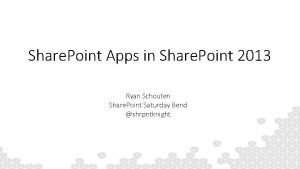 Share Point Apps in Share Point 2013 Ryan