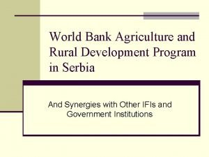 World Bank Agriculture and Rural Development Program in