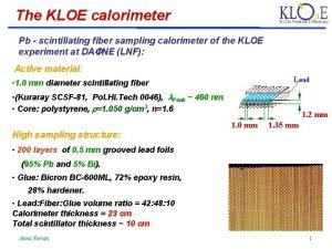 The KLOE calorimeter Pb scintillating fiber sampling calorimeter