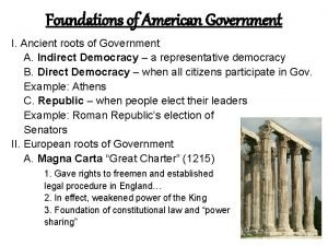 Foundations of American Government I Ancient roots of