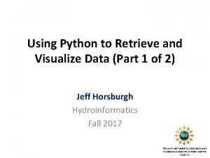 Using Python to Retrieve and Visualize Data Part