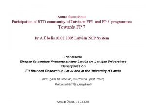 Some facts about Participation of RTD community of