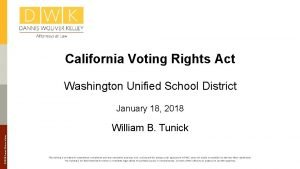California Voting Rights Act Washington Unified School District