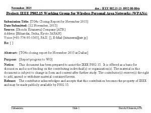 November 2015 doc IEEE 802 15 15 0952