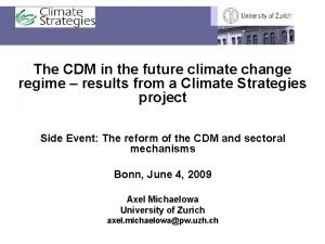 The CDM in the future climate change regime