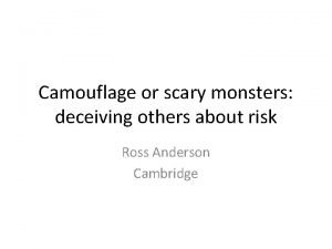 Camouflage or scary monsters deceiving others about risk