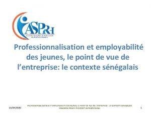 Professionnalisation et employabilit des jeunes le point de