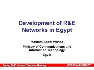 Development of RE Networks in Egypt Mostafa Abdel