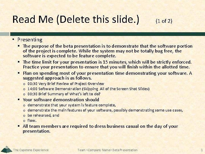 Read Me Delete this slide 1 of 2