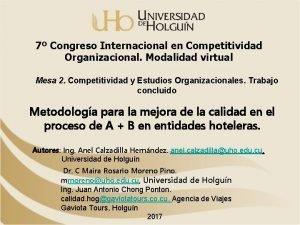7 Congreso Internacional en Competitividad Organizacional Modalidad virtual