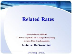 Natural Science Department Duy Tan University Related Rates
