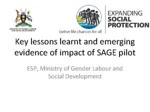 Key lessons learnt and emerging evidence of impact