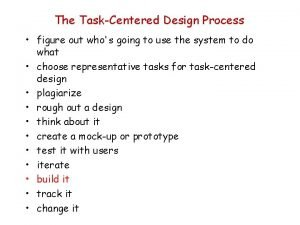 The TaskCentered Design Process figure out whos going
