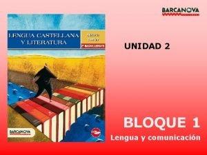 UNIDAD 2 BLOQUE 1 Lengua y comunicacin UNIDAD