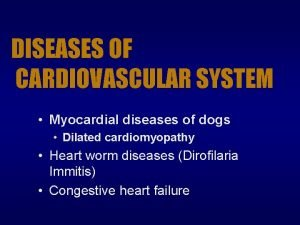 DISEASES OF CARDIOVASCULAR SYSTEM Myocardial diseases of dogs