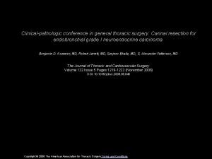 Clinicalpathologic conference in general thoracic surgery Carinal resection