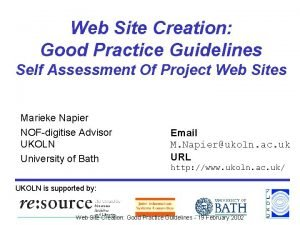 Web Site Creation Good Practice Guidelines Self Assessment