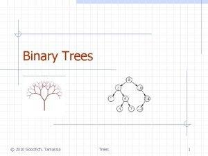 Binary Trees 2010 Goodrich Tamassia Trees 1 Binary