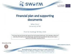 Financial plan and supporting documents Milan Goci University