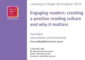 Learning to Shape Birmingham 2019 Engaging readers creating