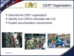 CERT Organization w Describe the CERT organization w